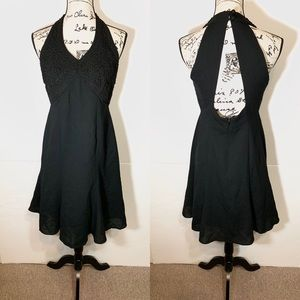 Halter Open Back Embroidered A-Line Dress